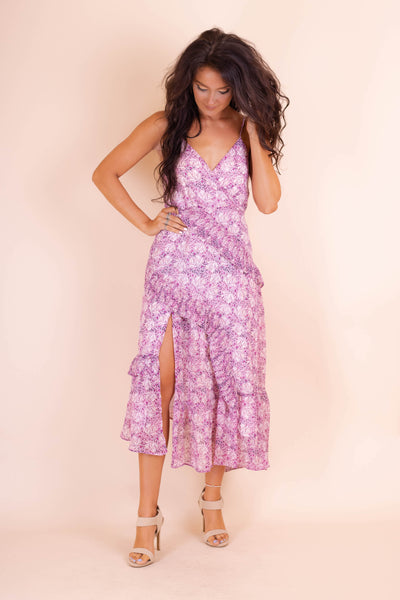 Women's Purple Midi Dress- Sexy Midi Dress- Blogger Style Dress- $38