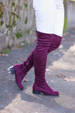 Maroon Over The Knee Boots- Faux Suede Over The Knee Boots- $45- Juliana's Boutique