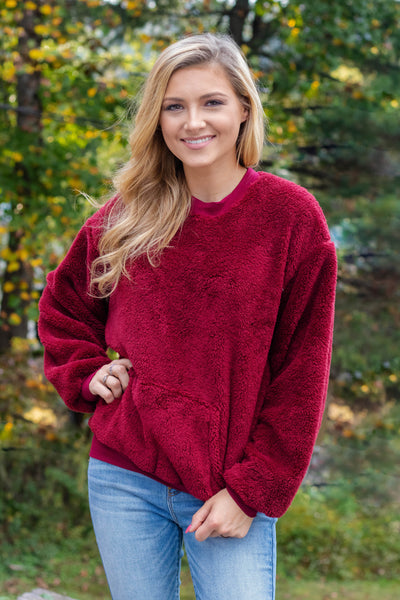 Women's Burgundy Fleece Pullover- Burgundy Fleece Crewneck Pullover- $35