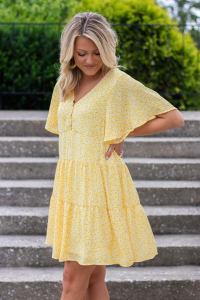 Women's Yellow Baby Doll Dress- Yellow And White Flower Dress- Women's Summer Dresses- $44
