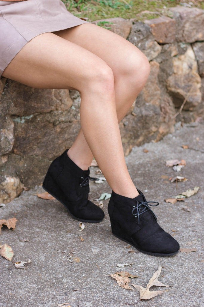 Sabrina Lace Up Wedges-Black