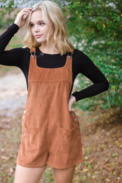 Camel Corduroy Overalls- Cute Women's Overalls- $34- Juliana's Boutique