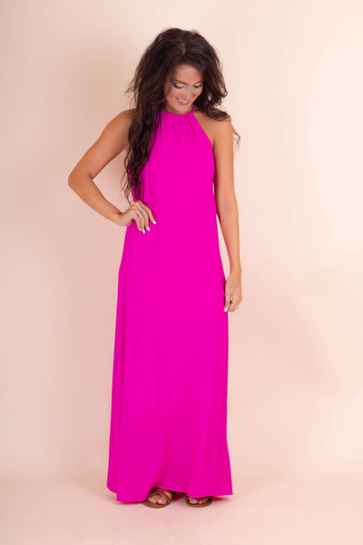 Bright Pink Maxi Dress- Women's Halter Neckline Maxi Dress- Simple Women's Maxi- $44- Juliana's Online Boutique