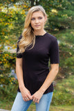 Women's Black Basic Waffle Knit Top- Ruffled Sleeve Top For Women- $30