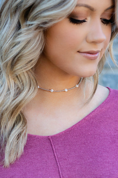 Something Precious Choker-Silver