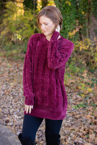 By The Fireside Chenille Sweater-Burgundy