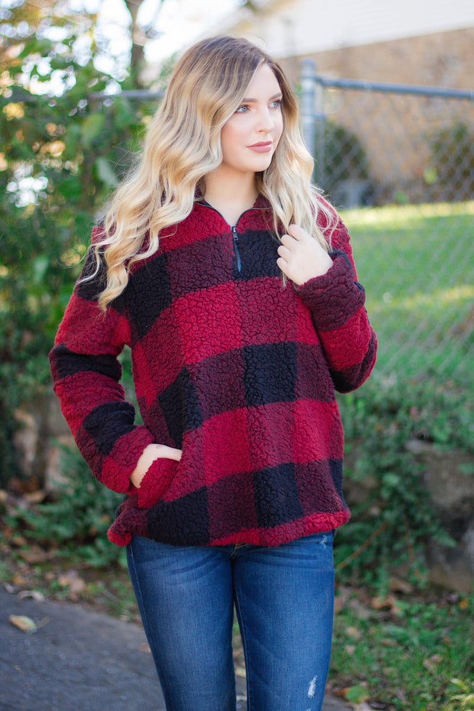 Buffalo Plaid Sherpa Pullover- Red And Black Sherpa Pullover- $50- Juliana's Boutique