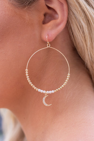 Beaded Gold Hoop Earrings- Hoop Earrings With Moon Charm- $14