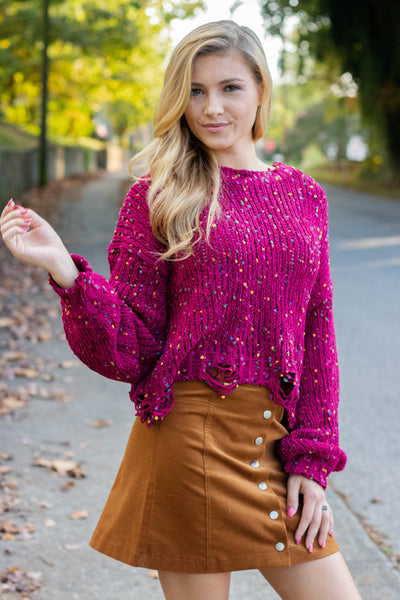 Maroon Confetti Distressed Sweater- Rainbow Confetti Sweater- $44