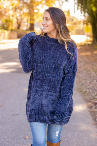 Hot Cocoa Chenille Sweater-Navy