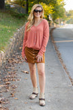 Orange Waffle Knit Top- Women's Button Down Tie Top- $36