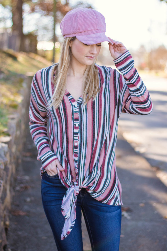 Women's Cute Rainbow Stripe Top- Trendy Button Down Tie Top- $34- Juliana's Boutique