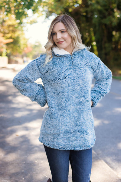 Blue Pullover- Sky Blue Sherpa Pullover- Fuzzy Women's Jacket- $42