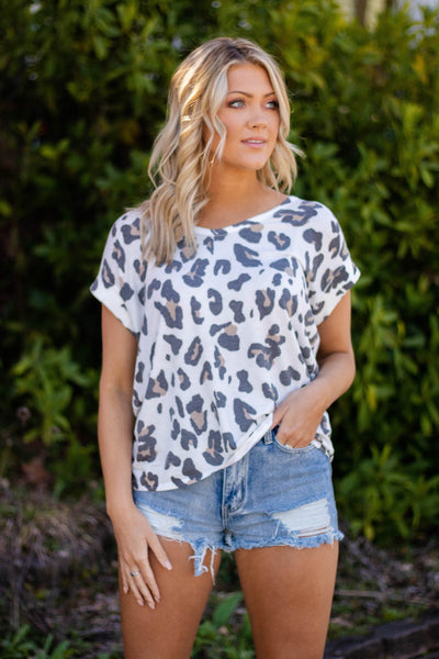 Comfy Leopard Print Top- Stretchy White Leopard Print Tee- $28- Cute Online Boutique