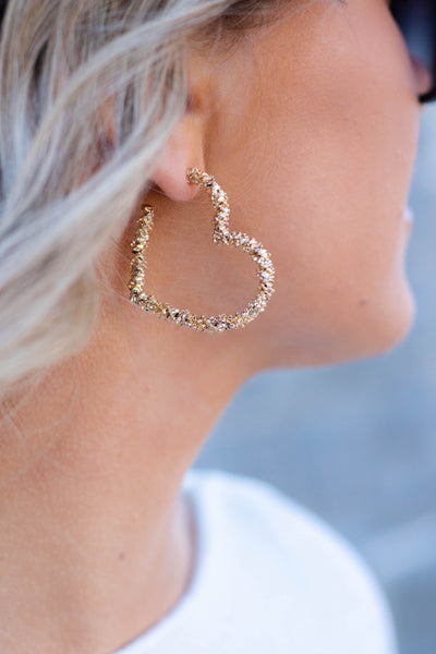 Gold Heart Hoop Earrings- Heart Shaped Hoop Earrings- $14