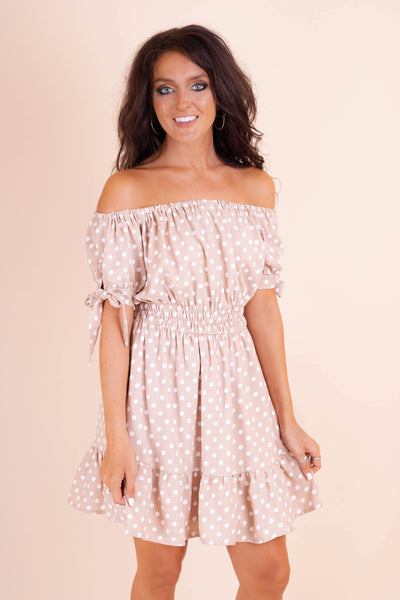 Tan Off The Shoulder Dress- Women's White Polkadot Dress- Flirty Women's Dresses- $42- Juliana's Online Boutique