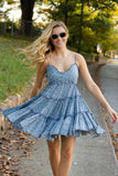 Women's Darling Light Blue Ruffle Dress- Floral Print Tiered Dress- $42