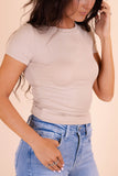 Simple Short Sleeve Oatmeal Top- Ribbed Hugging Top- $26- Juliana's Boutique
