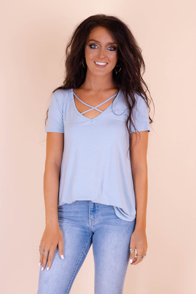 Cute Blue Top- Cross Front Top- $24- Trendy Online Women's Boutique