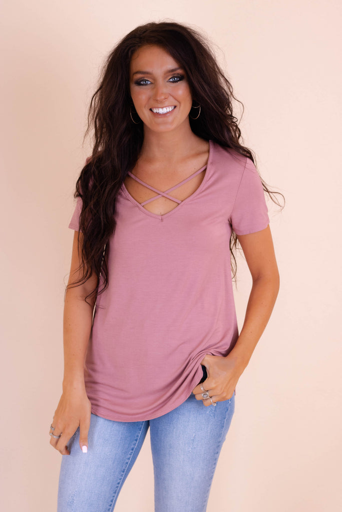Cute Mauve Top- Cross Front Top- $24- Trendy Online Women's Boutique