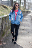 Distressed Denim Jacket- Boyfriend Fit Denim Jacket- $45- Juliana's Boutique