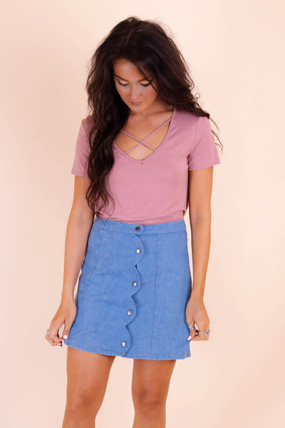 Scallop Denim Skirt- Acid Wash Denim Skirt- Trendy Mini Skirt- $40
