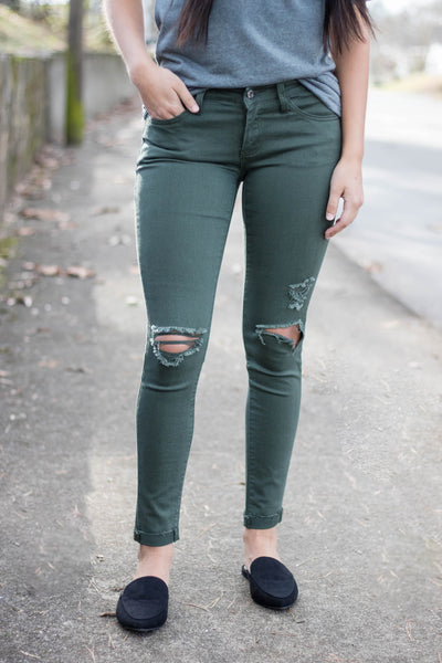 Look My Way Olive Denim Jeans