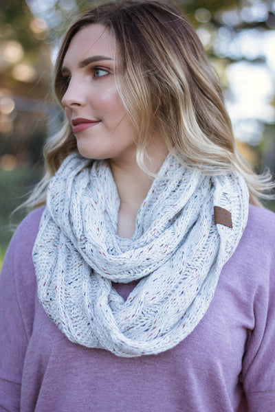 Hit Snooze Infinity Scarf-Ivory