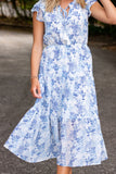 Stunning Blue And White Floral Dress- Women's Midi Dress- Designer Inspired Dresses- $46