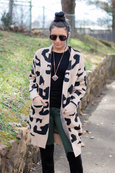 Trendy Leopard Print Cardigan- Women's Leopard Long Cardigan- $48- Juliana's Boutique