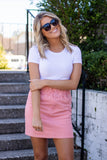 Cute Denim Pink Skirt- Paperbag Pink Denim Skirt- Fun Summer Skirt- $38