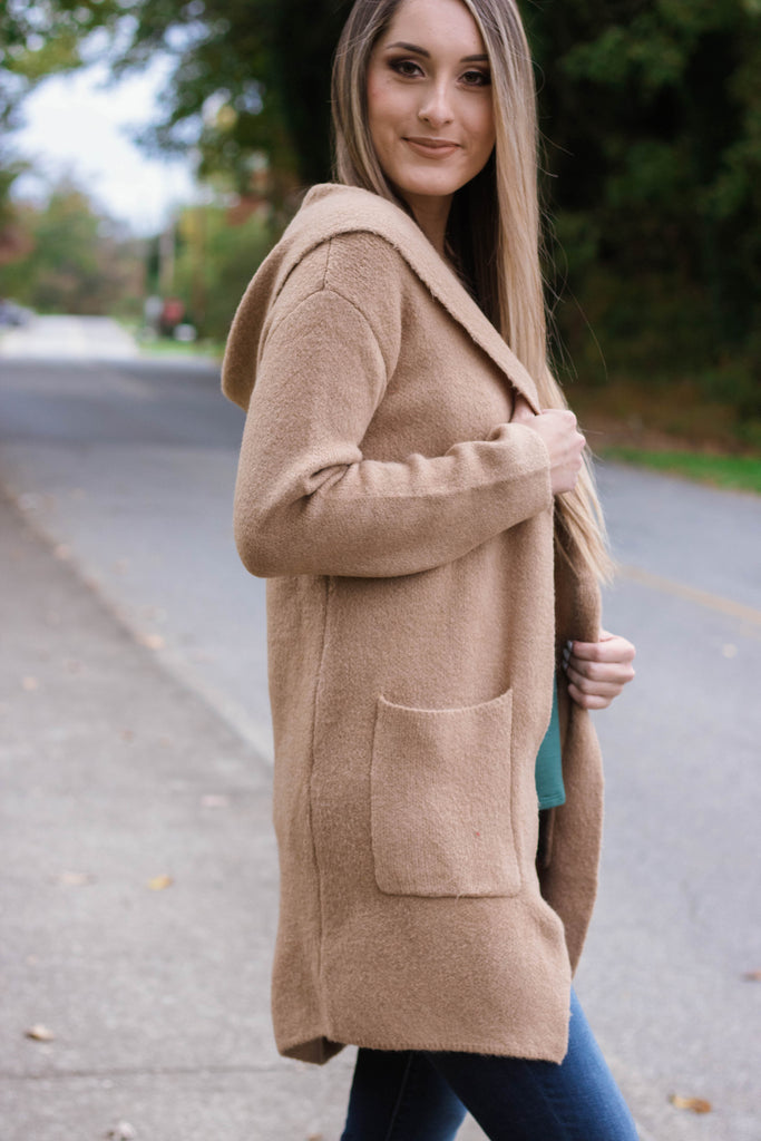 Super Soft Cardigan With Hood- Camel Hooded Cardigan- $48- Juliana's Boutique