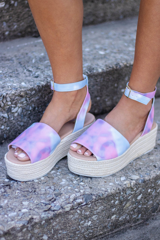 Tie Dye Flatforms- Qupid Flatforms-Espadrille Sandals-$34