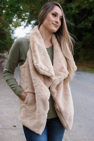 Glamorous Faux Fur Vest- Light Brown Faux Fur Vest- $50- Juliana's Boutique