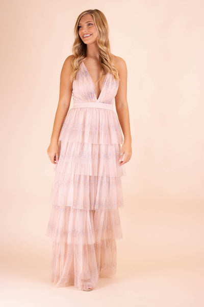 Women's Special Occassion Dress- Pink Formal Dress- Rainbow Glitter Maxi Dress- $65- Juliana's Online Boutique