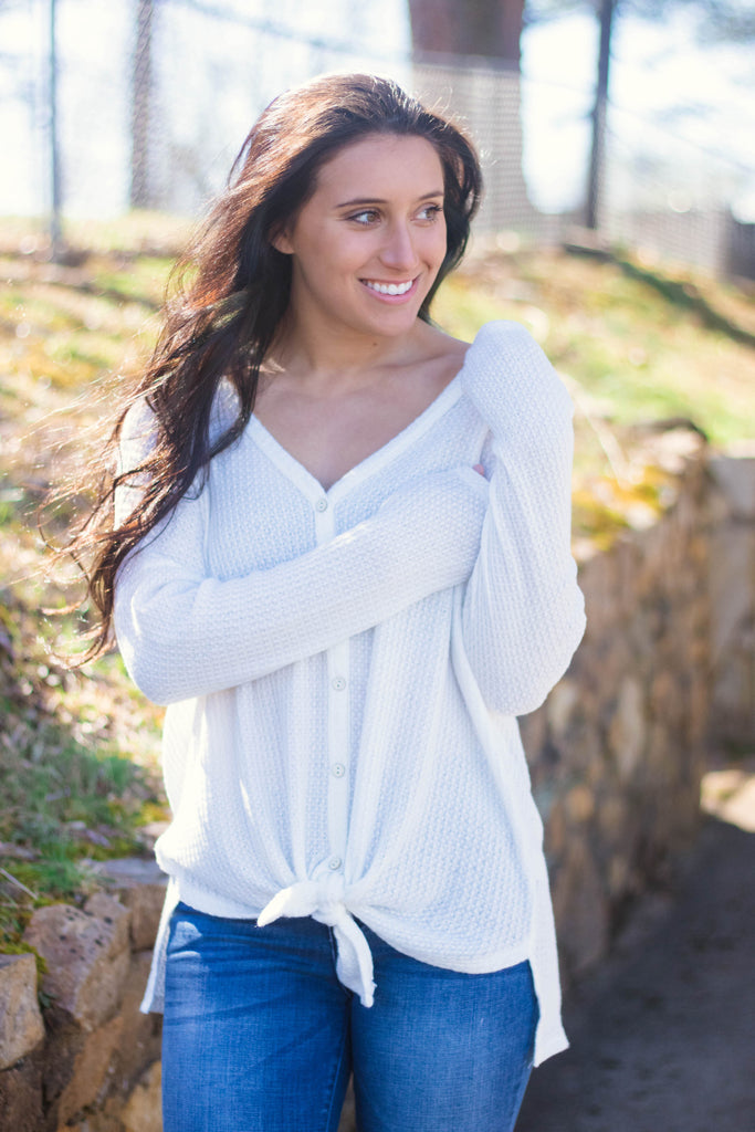 Trendy White Long Sleeve Top- Cute Waffle Knit Long Sleeve- Tie Up Top- $38