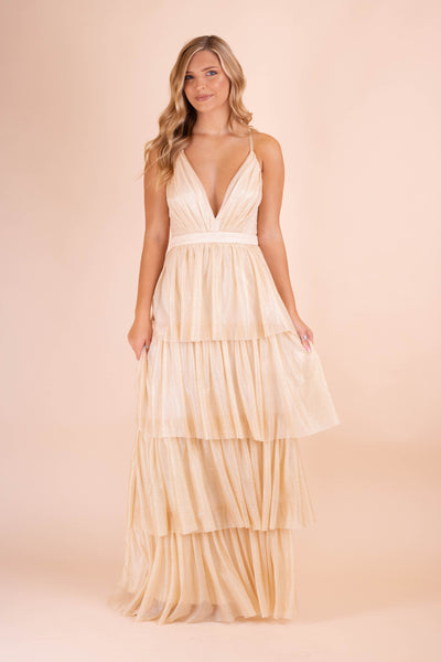 Women's Special Occassion Dress- Gold Formal Dress- Gold Glitter Maxi Dress- $65- Juliana's Online Boutique