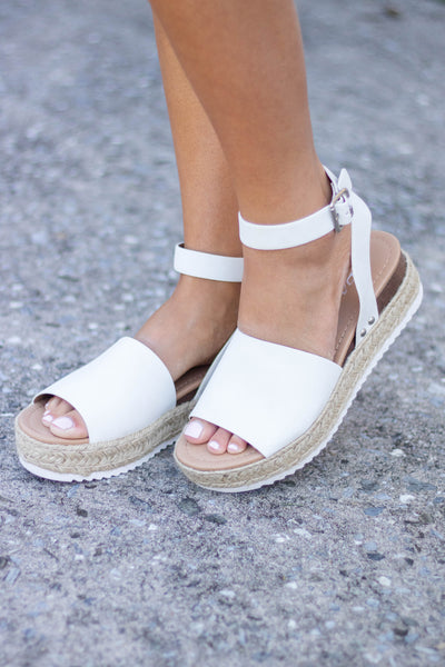 White Flatform Shoe- White Summer Shoe- White Sandals-$34