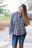 Navy And Ivory Buffalo Plaid Flannel- Women's Oversized Flannel- $36- Juliana's Boutique