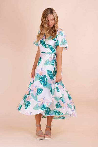 Tropical Print Midi Dress- Women's Midi Wrap Dress- Women's Vacation Dresses- $44