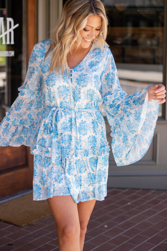 Floral Print Blue Dress- Blue Bell Sleeve Dress- Women's Spring Dresses- $44