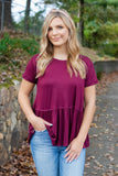 Solid Wine Peplum Top- Women's Super Soft Wine Blouse- $28