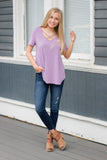 Cute Purple Top- Cross Front Top- $24- Trendy Online Women's Boutique