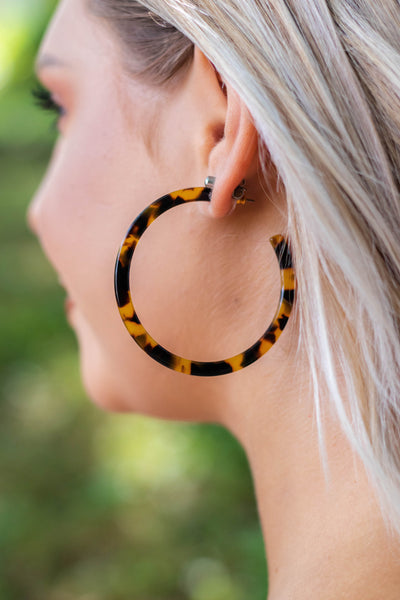 Brown Tortoise Hoop Earrings- Cute Tortoise Earrings- $15