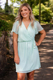 Mint And White Polkadot Dress- Women's Polkadot Dress- Cute Wrap Dress- $44