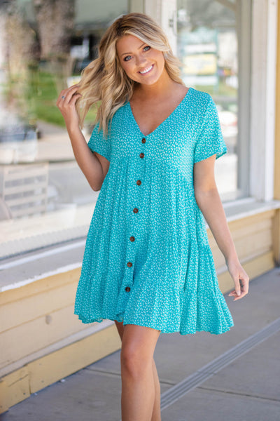 Cute Teal Floral Dress- Flowy Dress For Women- Cute Babydoll Spring Dress- $44