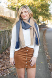 Cute Navy And Blue Scarf- Trendy Fringe Scarf- Oversized Scarf- $35