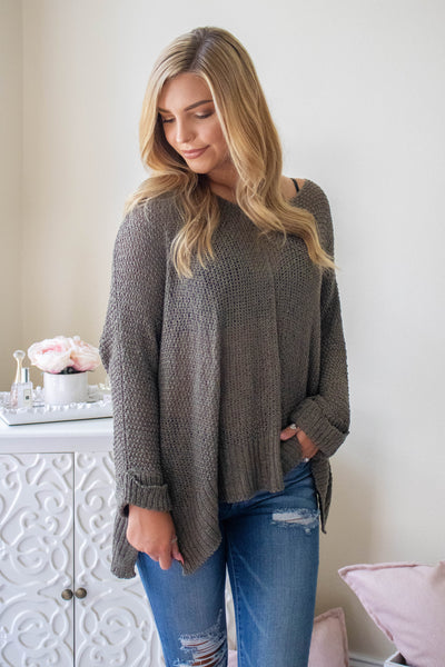 Olive Oversized Knit Sweater- Women's Green Knit Sweater- $35- Affordable Online Women's Clothing Store