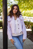 Women's Corduroy Jacket- Blush Pink Corduroy Jacket- Oversized Boyfriend Fit Jacket- $52