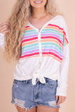 Fun White Rainbow Stripe Top- Multi Stripe Tie Top- $32- Juliana's Boutique